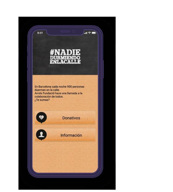 Pantalla móvil 2 de la app de Arrels Fundació