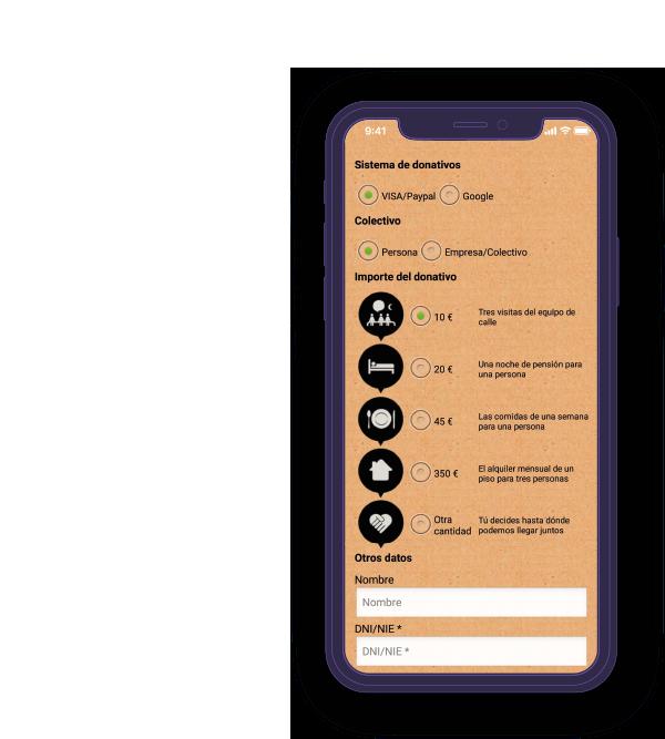 Pantalla móvil 2 de la app Arrels Fundació