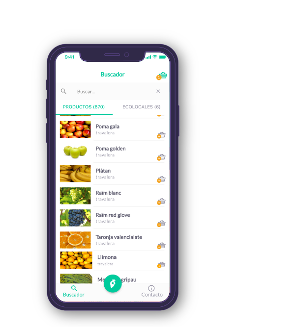 Pantalla móvil de la app Ecolocal de Basetis