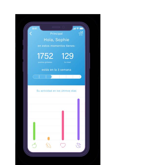 Pantalla móvil de la app de Wellness Habits Basetis