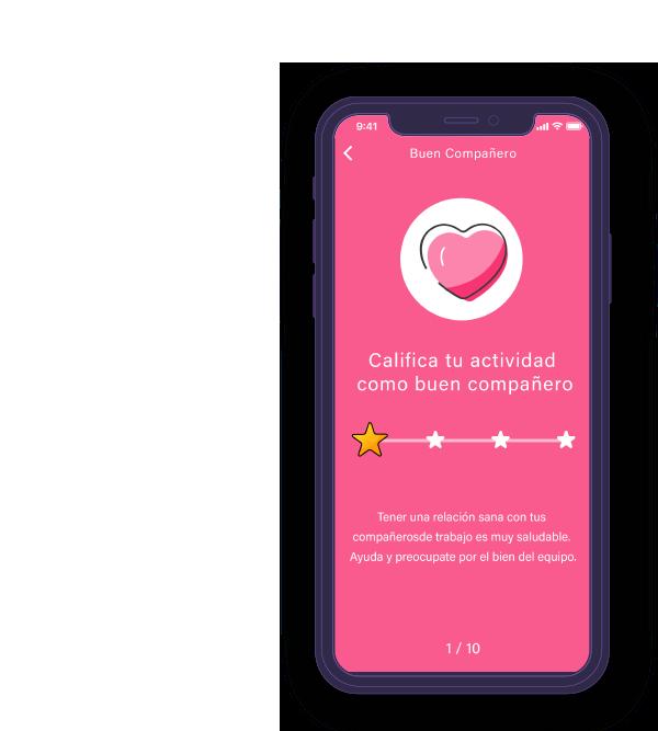 Pantalla2 móvil de la app de Wellness Habits Basetis