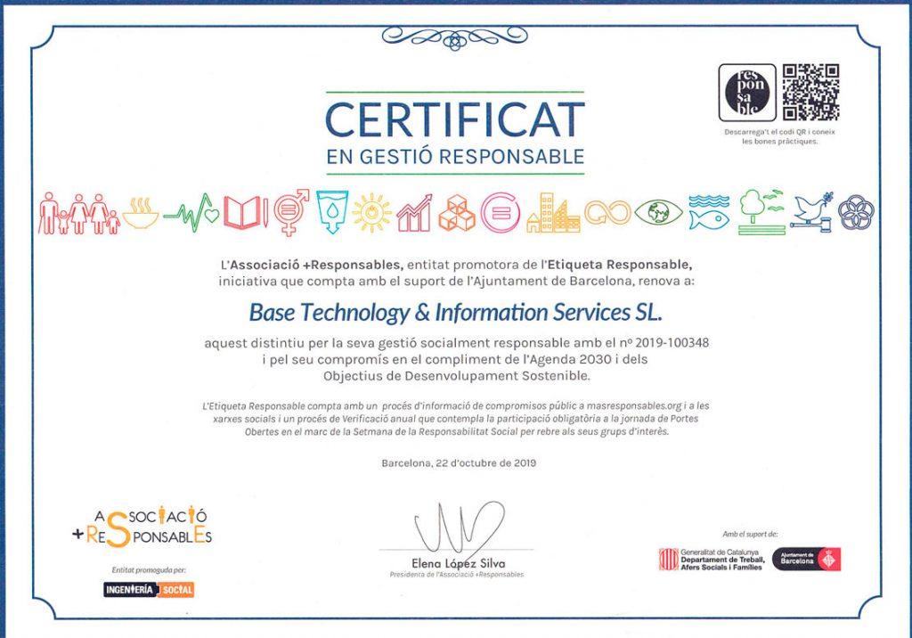 certificado gestión responsable Basetis